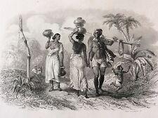 Paria et Femmes du Peuple à Madras lithographie 1857 Rouargue XIXe Inde India