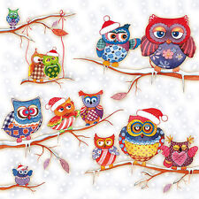 Ambiente Paper Napkins Serviettes Owls In Winterland Retro Style Xmas Christmas