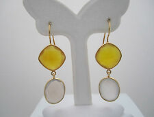 18K Gold Plated Over925 Silver Yellow Chalcedony&Moonstone Gemstones Earrings157