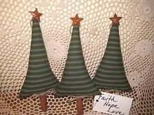 3 HANDMADE PRIMITIVE CHRISTMAS GREEN FABRIC PRIM TREE ORNIES BOWL FILLERS DECOR