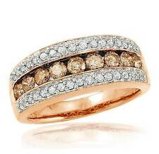 Big Look! 100% 10K Rose Gold Chocolate Brown & White Diamond Ring Band 1.05ct
