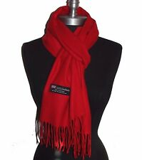 """Fashion 100% Cashmere Scarf Solid Red Scotland Made Warm Wool Wrap """"S2207"""""""