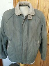 MEMBERS ONLY MENS GENUINE QUALITY LEATHER JACKET SAGE GREEN SIZE LARGE
