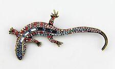 JAY STRONGWATER LARGE SALAMANDER PIN SWAROVSKI NEW PINK & BLUE MADE IN USA