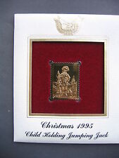 1995 Christmas Child Holding Jumping Jack 22kt Gold GOLDEN Cover replica STAMP