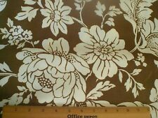Big White Flowers on Brown-- Braemore Fabric - Gorgeous