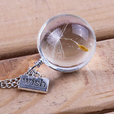 Make a Wish Handmade Real Dandelion Seed Crystal  bottle Necklace - silver