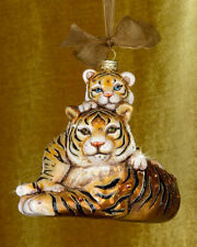 Jay Strongwater Mother and Baby Tiger Glass Christmas Ornament - Natural NIB