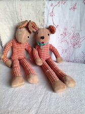 Antique Rabbit & Mouse Soft Toys Red Gingham Projects Old Stock Shabby & Sweet