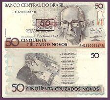 Brazil P223, 50 Cruzeiros, Poet Carlos Andrade,/ Andrade writing poetry 1980 UNC