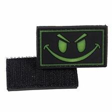 PVC Morale Patch Dark Smiley Face 3D Badge Hook #15 Glow in Dark Airsoft