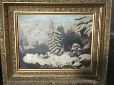 1918 Mixed Media Oil Watercolor On The Blue Alsatian Mountains Signed Framed
