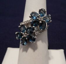 Size 7 Stunning 4.28cts  London Blue & White Topaz Sterling Silver Ring