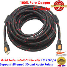 15M 50FT High Speed GOLD HDMI Cable 1.4 w/Nylon net Ferrite cores 1080p 3D 50 Ft