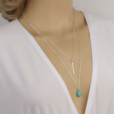New Hot Double Chain Bar and Turquoise Ball Long Pendant Necklace Tiny Jewelry