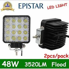Pair 48W LED WORK LIGHT FLOOD DRIVING HEADLAMP TRUCK BOAT TRACTOR 12V 24V 4WD US
