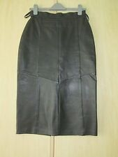 ladies FULL LENGTH BLACK LEATHER SKIRT UK SIZE 10