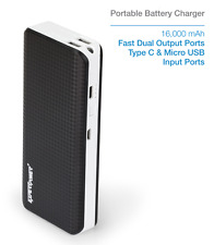 New 16000mAh Portable External USB-C Universal Black Power Bank Battery Charger