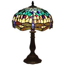 "Bieye Tiffany Style Stained Glass Dragonfly Table Lamp Handmade 12""W 18""H, Blue"