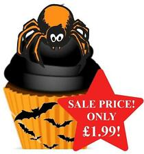12 NOVELTY HALLOWEEN STAND UPS Orange Black Spider Edible Image Cake Toppers Fun