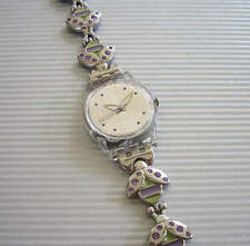 PURPLELACE! Lady Swatch with FLOWERS & LADYBUG Fliplock Bracelet! NIB-RARE!
