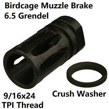 "9/16""x24 Bird Cage Muzzle Brake For 6.5 Grendel With Crush Washer"