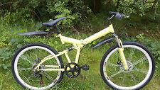 """LARGE MENS 26"""" YELLOW/BLACK  SHIMANO SPEED FOLDING MOUNTAIN BIKE BICYCLE 1Y W"""