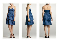 nwt J.CREW strapless silk organza DRESS BLUE 2 party PROM cocktail grad tiered