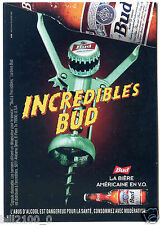 carte postale publicitaire . bière incredibles Bud . tire-bouchon