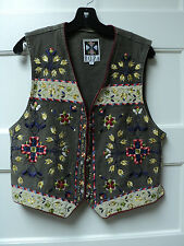 """HAIRSTON ROBERSON """"ROPA DENIM VEST, TAUPE w/ EMBROIDERED DECORATION, SIZE LARGE"""