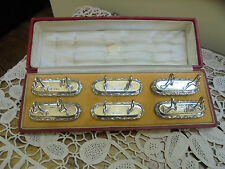Vintage Boxed Set 6  Cartier Sterling Sterling Silver Menu/ Place Card Holders