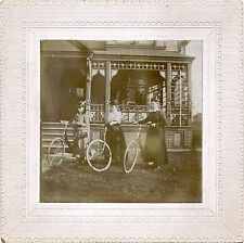 THREE VICTORIAN WOMEN WITH BICYCLES POSING FOR THE CAMERA BY HOUSE ANTIQUE PHOTO