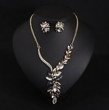 Luxury Crystal Flower Statement Necklace+Earrings Fashion Women Accessories
