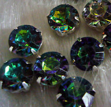 20p Sew On Rhinestones Crystal DIY Peacock Hues Greens Blues Round 10mm Montees