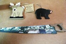 Country wood  cabin lodge fishing deer bear metal saw with magnets decor sign