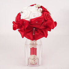 Premium Luxury Bridal Brooch Bouquet.  Handmade Satin Roses, Lace and Crystals