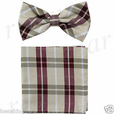 New Brand Q formal Men's Pre-tied Bow Tie & Hankie burgundy taupe checker