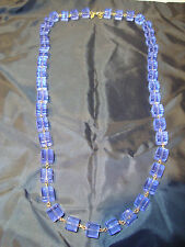 """Kenneth Jay Lane Clear Purple Square Bead Gold Tone 35"""" Long Necklace EUC"""