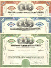 Marquette Cement Manufacturing Company Set of 3 Illinois share stock certificate