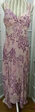 Sz 10 Jones New York Pink Silk V Neck Sleeveless Mid Calf Asymmetrical Dress