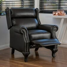 Traditional Black Leather Recliner Club Chair