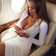 Women's New Sexy Evening Long Sleeve Club Party Cocktail Bandage Bodycon Dress