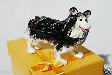 SWAROVSKI CRYSTAL BEJEWELED ENAMEL HINGED TRINKET BOX - BORDER COLLIE (DOG)