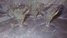 Vintage Crystal etched Cordial Glasses Grey Cut Rose design twisted stem 4 5oz