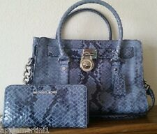 $506 MICHAEL KORS 2PC HAMILTON DENIM BLUE PYTHON LEATHER SATCHEL BAG & WALLET