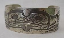 Northwest Coast American Indian Sterling Silver Heavy Bear Bracelet Dalton XLNT