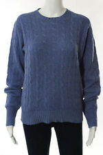 Polo Ralph Lauren Blue Cashmere Cabel Knit Crew Neck Sweater Size Extra Small