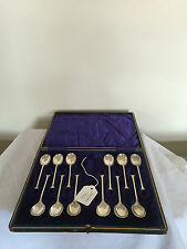 LOVELY CASED SET OF 12 SOLID SILVER COFFEE SPOONS  (SHEFFIELD 1926)
