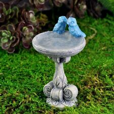 Birdbath w/ Blue Bird Pick Bird Bath Miniature Fairy Faerie Gnome Garden 17229