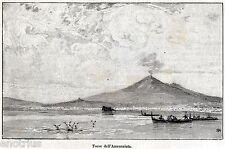 Torre Annunziata: Panorama dal mare,Vesuvio. Golfo di Napoli. Stampa Antica.1892